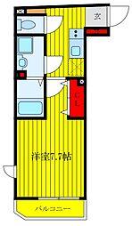 東京メトロ南北線 王子神谷駅 徒歩6分の賃貸マンション 2階1Kの間取り