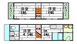 [テラスハウス] 大阪府吹田市南金田1丁目 の賃貸【/】の間取り