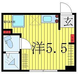 西武池袋線 椎名町駅 徒歩1分の賃貸マンション 1階ワンルームの間取り