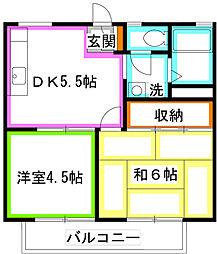 東京都国分寺市日吉町3丁目の賃貸アパートの間取り
