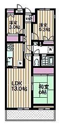 埼玉県さいたま市中央区大戸3丁目の賃貸マンションの間取り