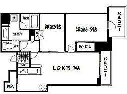 シエリアタワー千里中央 15階2LDKの間取り