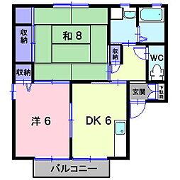 岡山県総社市清音柿木の賃貸アパートの間取り