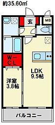 SAKURA FORET 2階1LDKの間取り