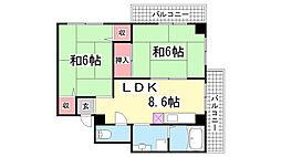 上田マンション池ノ谷[401号室]の間取り