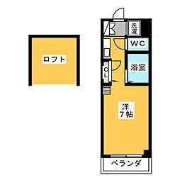 コーポT's1 3階ワンルームの間取り