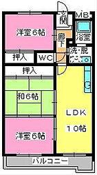 福岡県大野城市中3の賃貸マンションの間取り