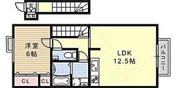 六甲ビュート 2階3LDKの間取り