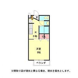 愛知県一宮市三ツ井7丁目の賃貸アパートの間取り
