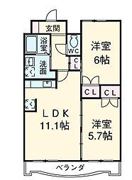 アップル第7マンション[802号室]の間取り