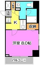 スクエアシティ東京保谷 7階1Kの間取り