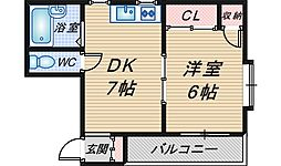 VIP岡町[203号室]の間取り