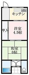 北野田グリーンハイツ 2階2Kの間取り