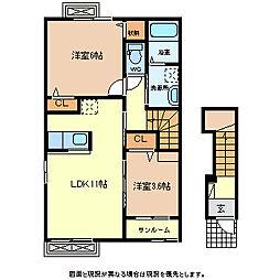 JR小海線 乙女駅 徒歩10分の賃貸アパート 2階2LDKの間取り