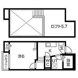 名古屋市営東山線 本陣駅 徒歩3分の賃貸アパート 1階1SKの間取り