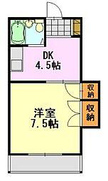 千葉県千葉市中央区大巌寺町の賃貸アパートの間取り