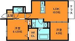 奈良県香芝市すみれ野1丁目の賃貸アパートの間取り