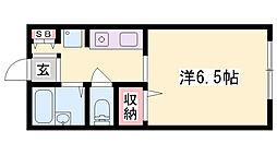 ハイネスモン 2階1Kの間取り