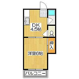京都府京都市伏見区村上町の賃貸アパートの間取り