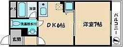 京阪本線 古川橋駅 徒歩16分の賃貸マンション 1階1DKの間取り