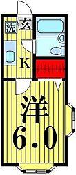 クレール西新井[201号室]の間取り