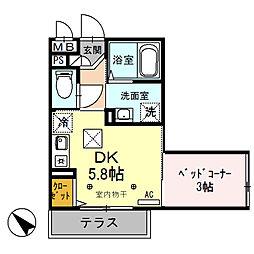 エスポアール 1階1DKの間取り