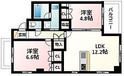 北大阪急行電鉄 緑地公園駅 徒歩5分の賃貸マンション 5階3LDKの間取り