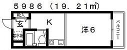 M・グレースヒルズ 4階1Kの間取り