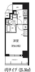 GRACE NORTH NISHITEMMA 8階1Kの間取り