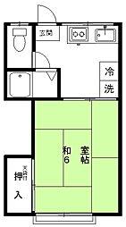 和泉荘 2階1Kの間取り