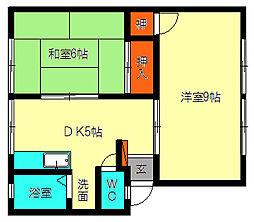 福岡県福岡市博多区三筑2丁目の賃貸アパートの間取り