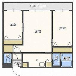 北海道札幌市中央区南十六条西16丁目の賃貸マンションの間取り