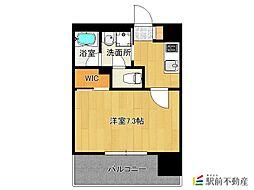 西鉄天神大牟田線 西鉄平尾駅 徒歩16分の賃貸マンション 2階1Kの間取り