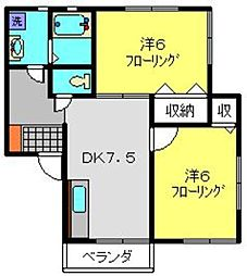 JR京浜東北・根岸線 本郷台駅 徒歩13分の賃貸アパート 3階2DKの間取り