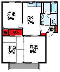 福岡県福岡市東区三苫4丁目の賃貸アパートの間取り