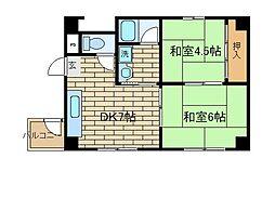 兵庫県神戸市須磨区北町3丁目の賃貸マンションの間取り