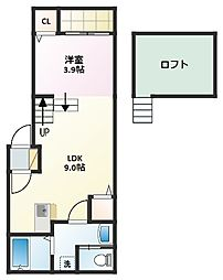 愛知県名古屋市千種区千種3丁目の賃貸アパートの間取り