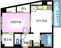 長居岡本マンション[2階]の間取り