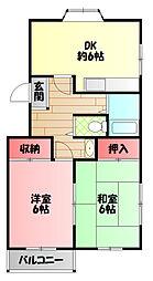 ネオコーポ寺澤1号館 2階2DKの間取り