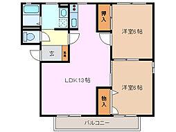 シャテル A棟[1階]の間取り
