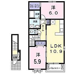 相田6丁目アパートT[0203号室]の間取り