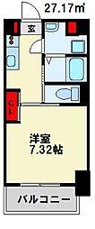仮) 折尾4丁目マンション 8階1Kの間取り