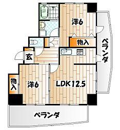 福岡県北九州市小倉北区神幸町の賃貸マンションの間取り