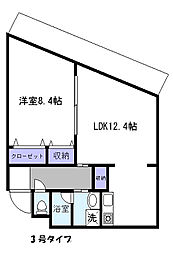 福岡県福岡市東区馬出6丁目の賃貸マンションの間取り