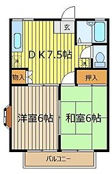 埼玉県川越市寺尾の賃貸アパートの間取り