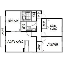 静岡県浜松市東区半田山6丁目の賃貸アパートの間取り