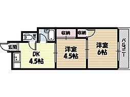 ミネルバ天王田 2階2DKの間取り