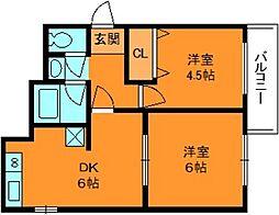 奈良県香芝市五位堂3丁目の賃貸マンションの間取り