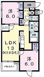 東京都武蔵村山市三ツ木2丁目の賃貸マンションの間取り