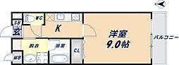 アパートメント玉串 2階1Kの間取り